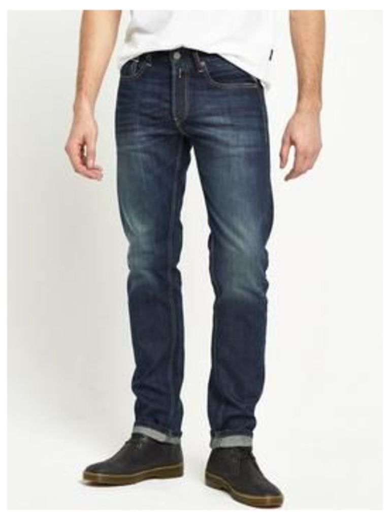 Replay Grover Slim Fit Jeans, Mid Blue, Size 36, Length Short, Men