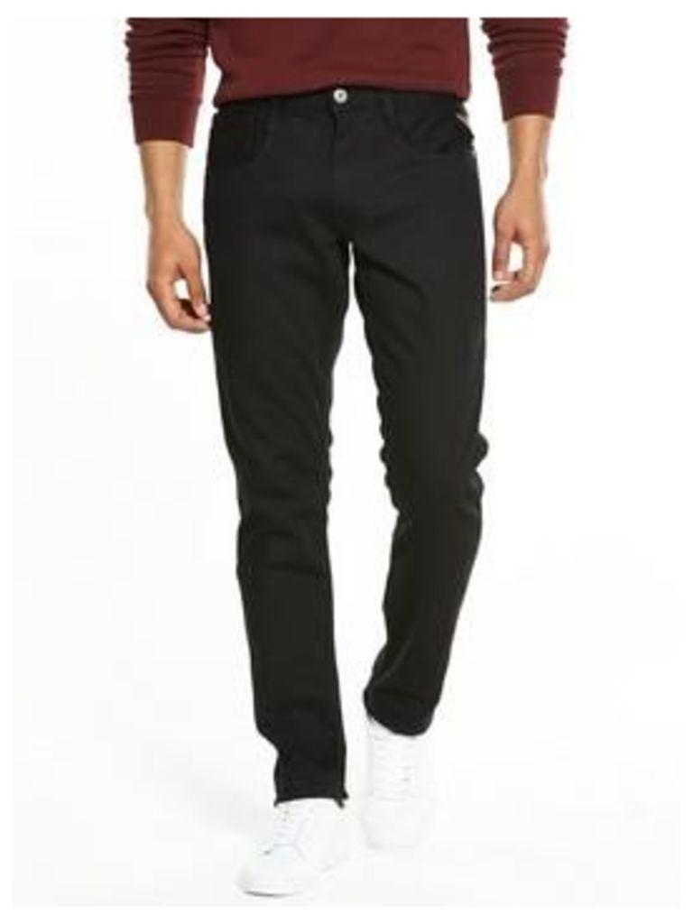Replay Anbass Slim Fit Jeans, Black, Size 38, Length Long, Men