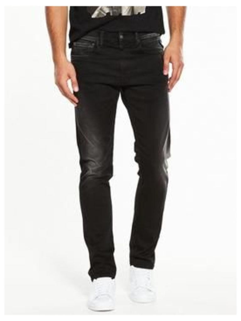 Replay Grover Hyperflex Slim Fit Jeans, Washed Black, Size 38, Length Long, Men