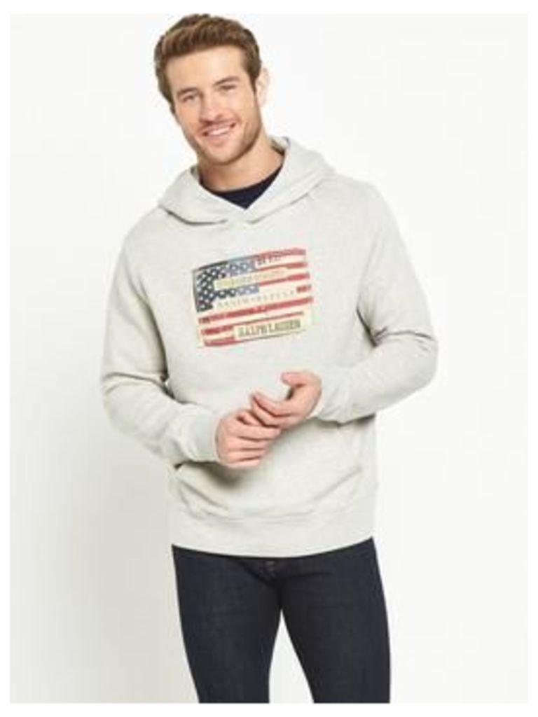 Denim & Supply - Ralph Lauren Flag Logo Hoody, Grey Heather, Size 2Xl, Men