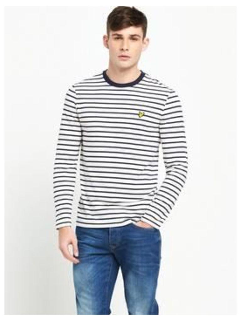 Lyle & Scott Long Sleeve Bretton Stripe T, Off White, Size Xl, Men