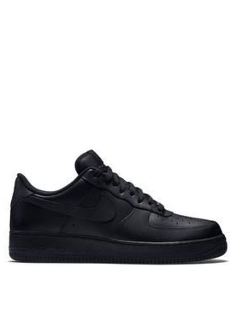 Nike Air Force 1 '07 Leather, Black/Black, Size 11, Men