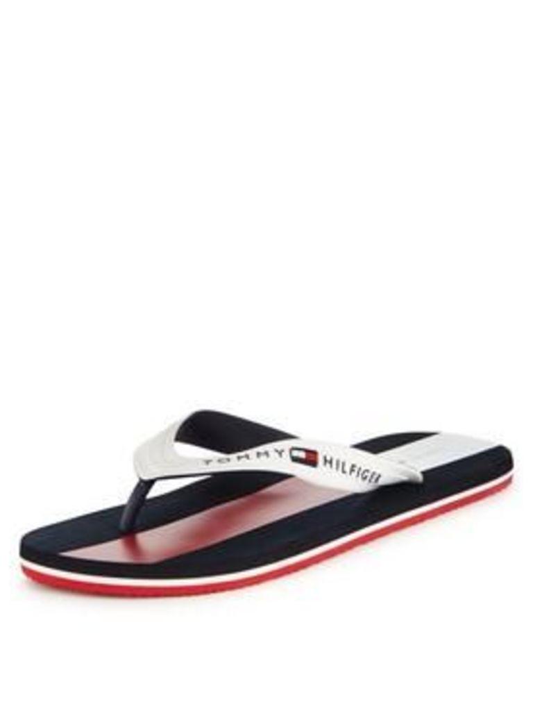 Tommy Hilfiger Lane 2r Flip Flop, White, Size 6.5, Men