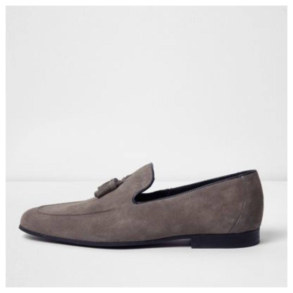 River Island Mens Grey suede tassel loafers