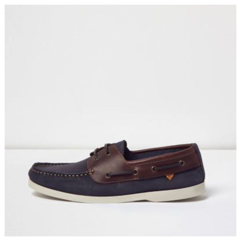 River Island Mens Navy dual colour leather boat shoes