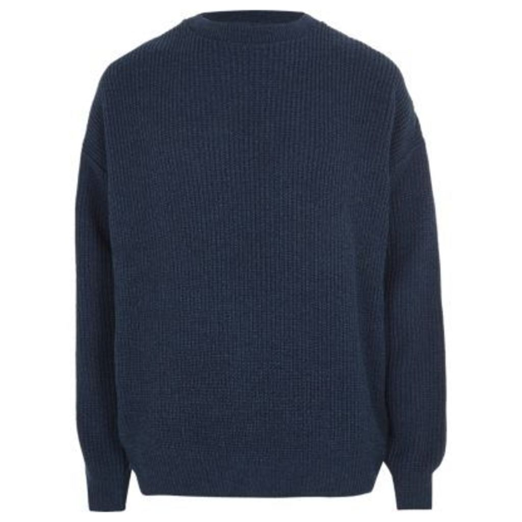 River Island Mens Blue oversized fisherman jumper