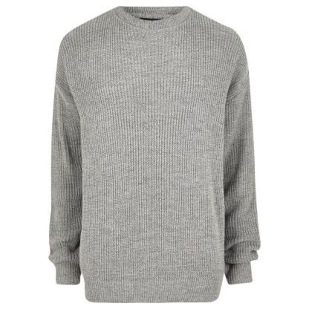 River Island Mens Grey oversized fisherman jumper