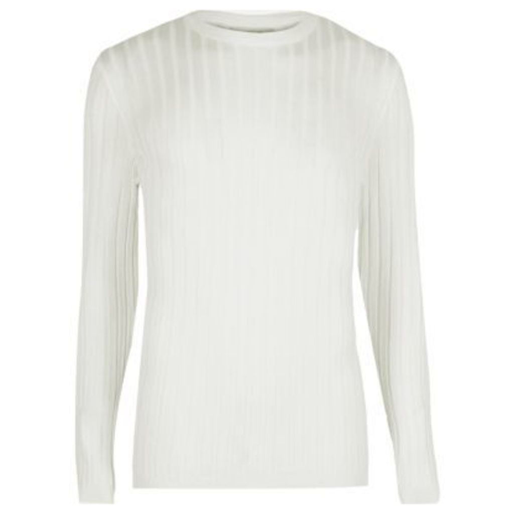 River Island Mens White ribbed muscle fit jumper