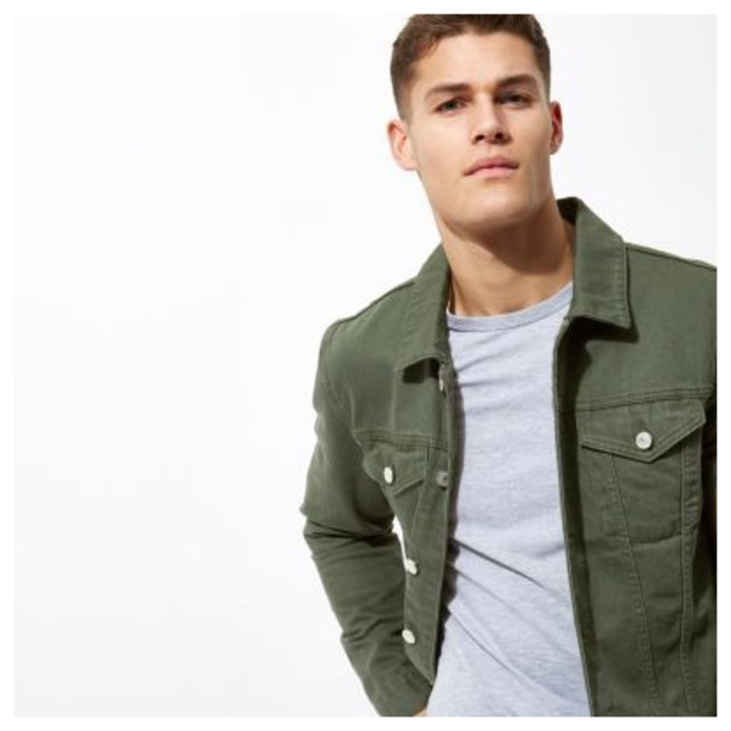 River Island Mens Dark Green denim jacket