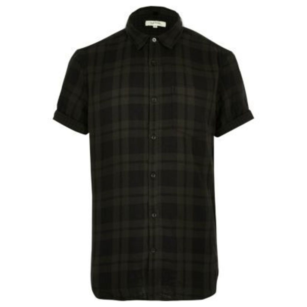River Island Mens Khaki green check short sleeve shirt