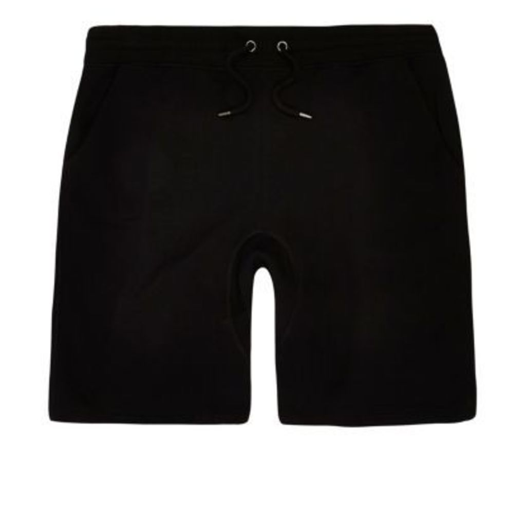 River Island Mens Black jogger shorts