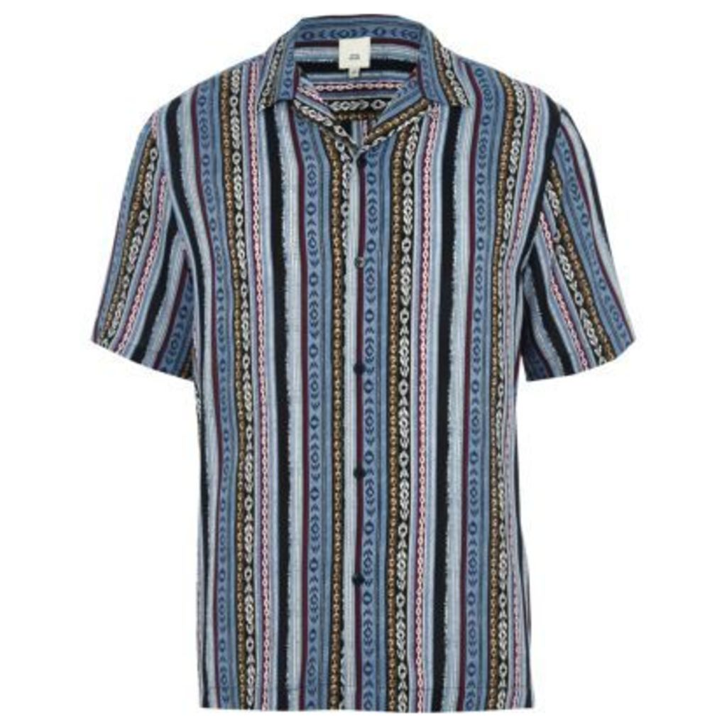 River Island Mens Blue aztec print revere short sleeve shirt