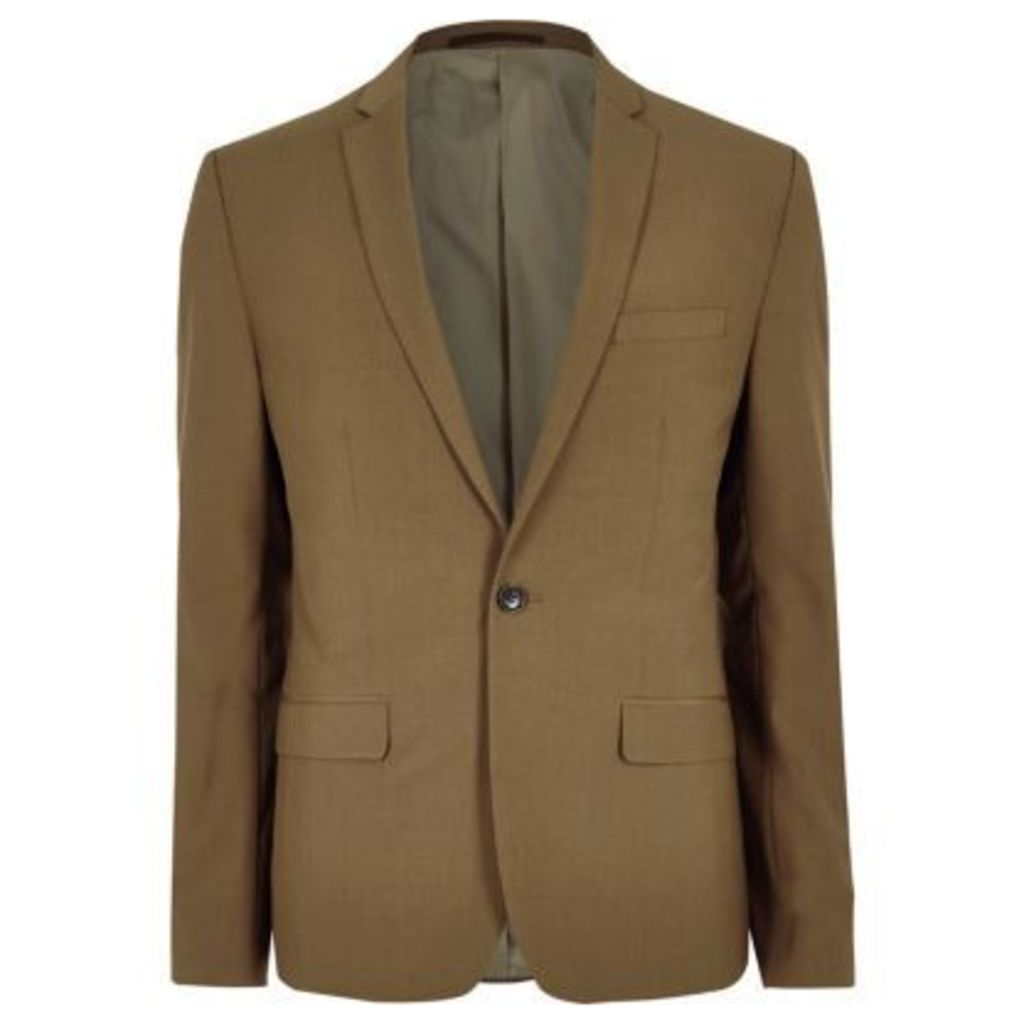 River Island Mens Brown slim fit suit jacket