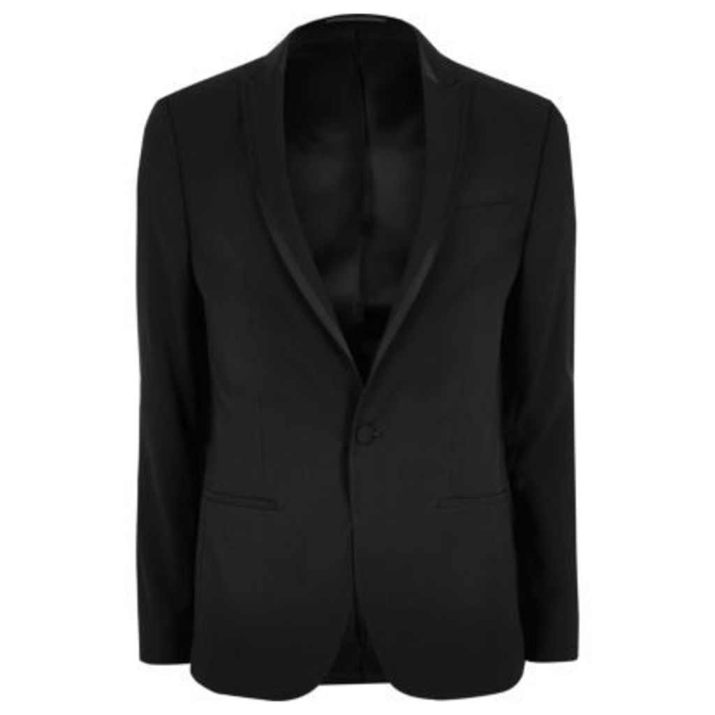 River Island Mens Black satin lapel skinny fit suit jacket