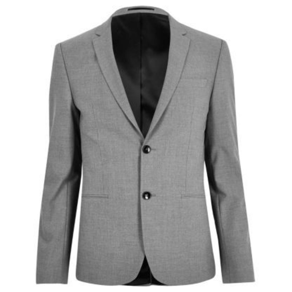 River Island Mens Grey super skinny fit suit jacket