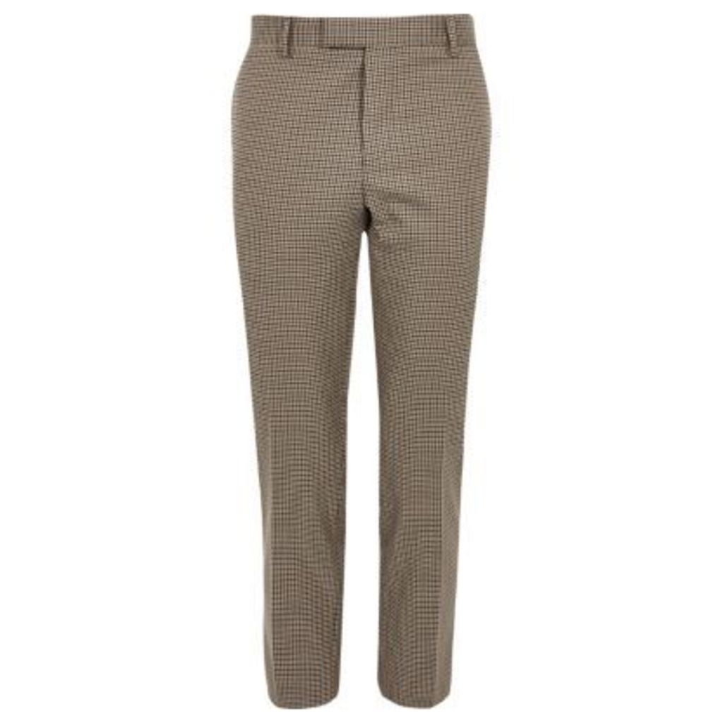 River Island Mens Brown dogstooth check cropped skinny trousers