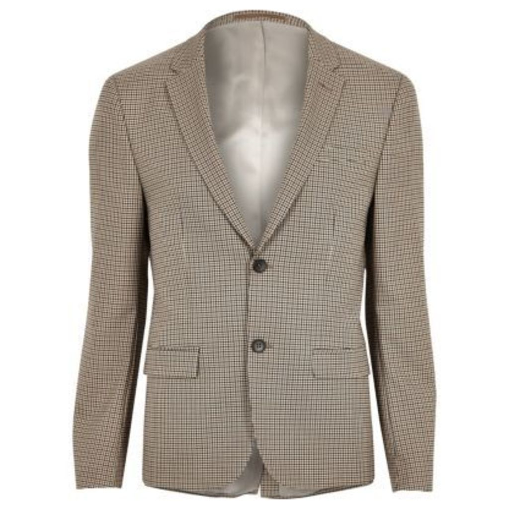 River Island Mens Brown skinny fit dogstooth check blazer