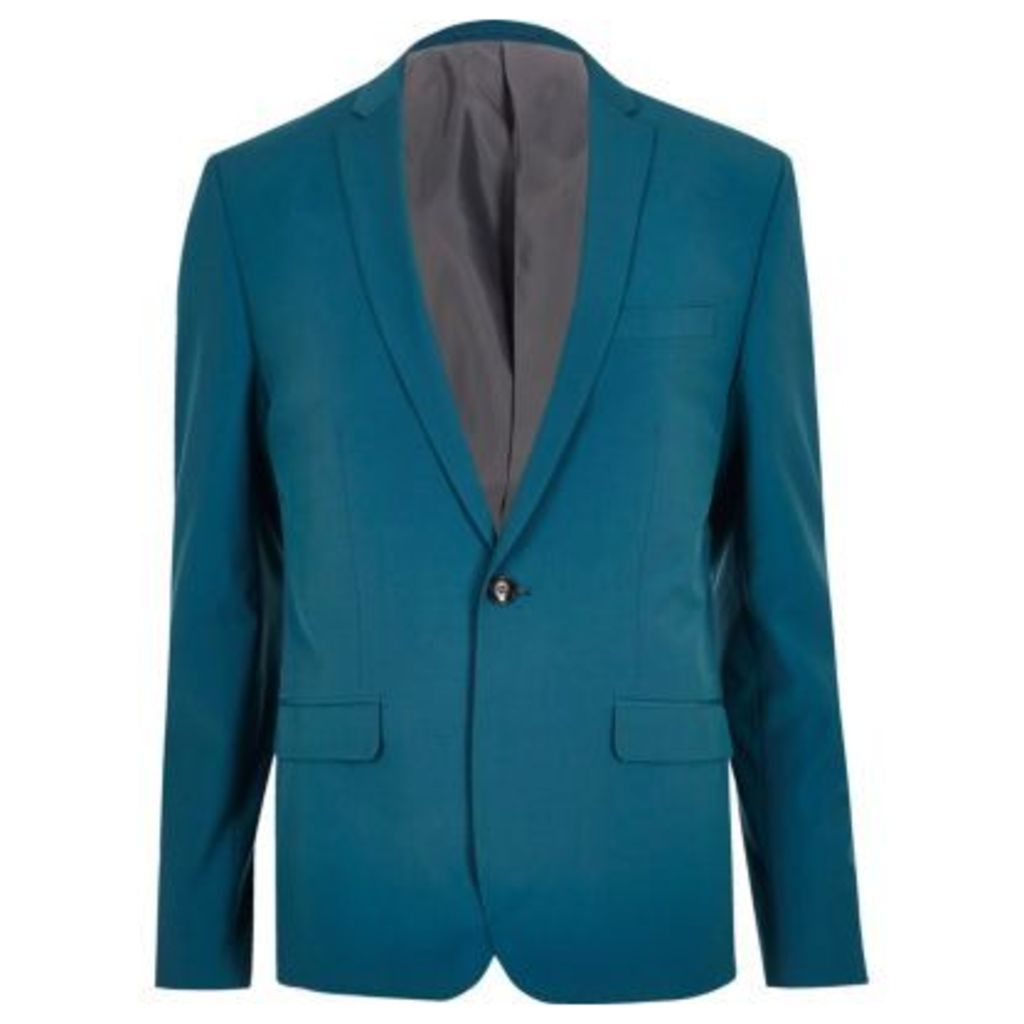 River Island Mens Green blue skinny fit suit jacket