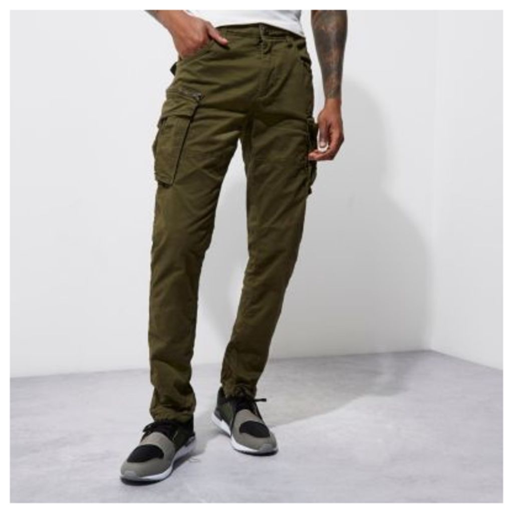 River Island Mens Green Jack & Jones Vintage cargo trousers