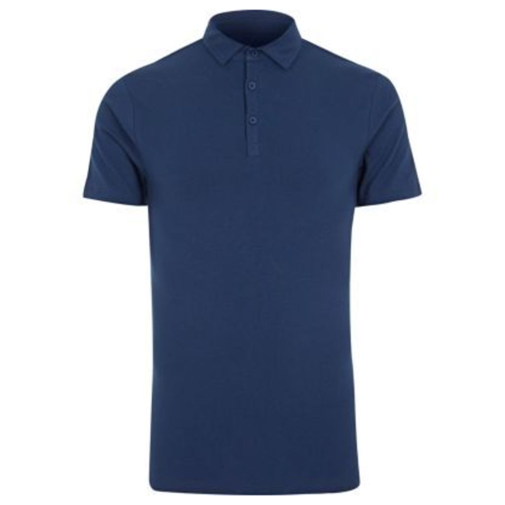 River Island Mens Navy muscle fit polo shirt