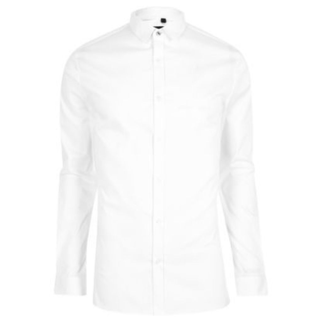 River Island Mens White long sleeve skinny fit shirt