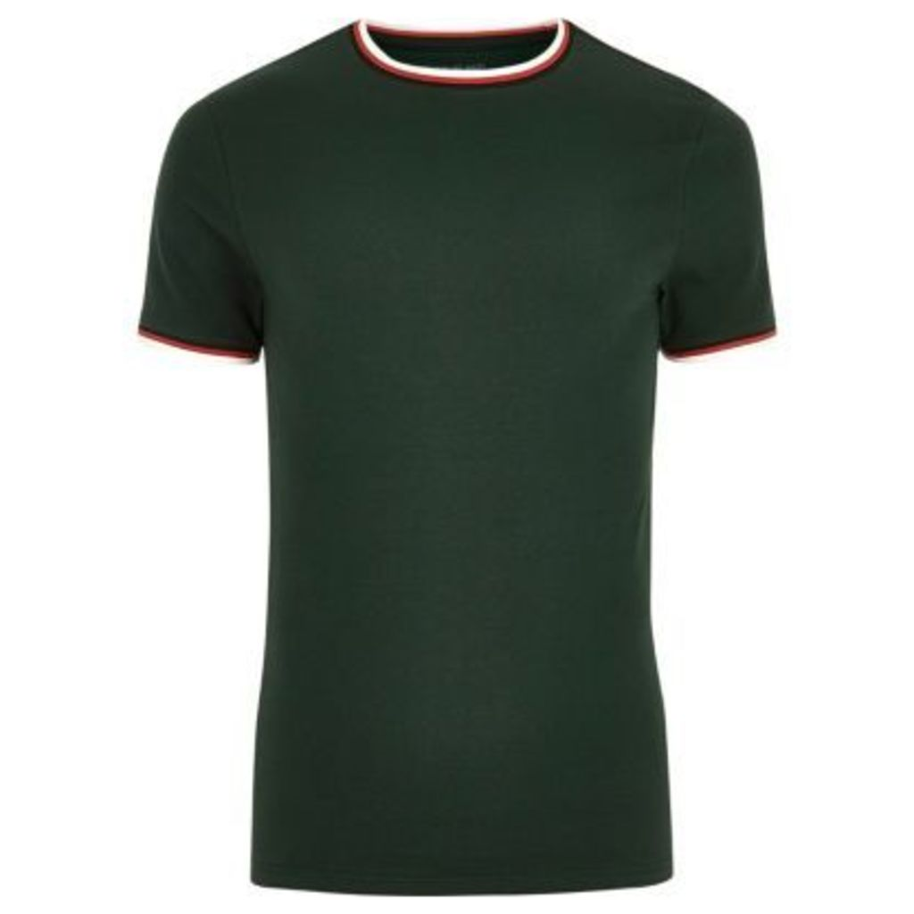 River Island Mens Dark Green tipped muscle fit T-shirt