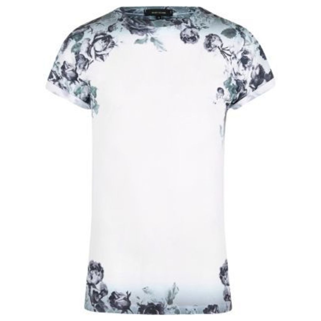 River Island Mens White floral fade T-shirt