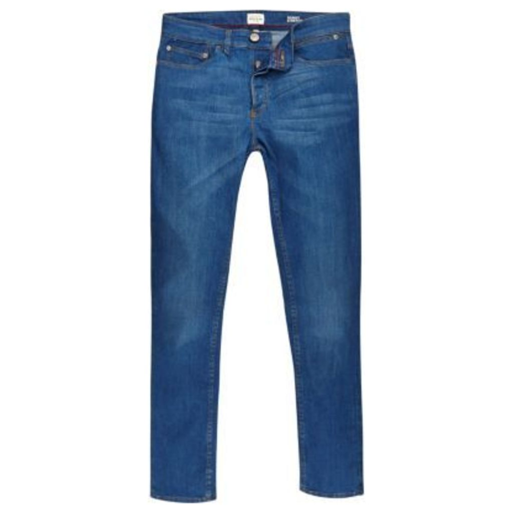 River Island Mens Bright Blue Sid skinny stretch jeans
