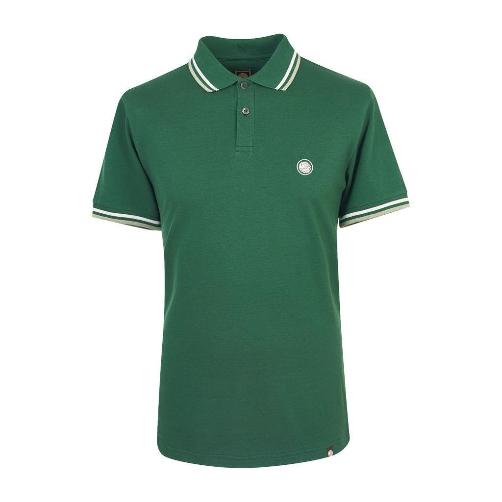 Pretty Green Men's Tipped Pique Polo - Dark Green - L
