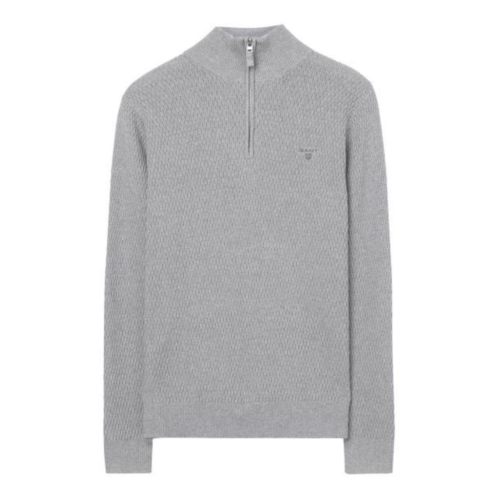 Cotton Texture Halfzip Jumper - Grey Melange