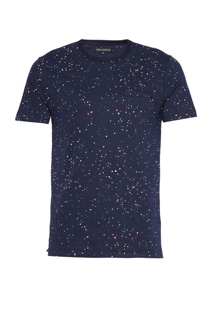 Men's French Connection Star Splatter Printed Jersey T-Shirt, Navy