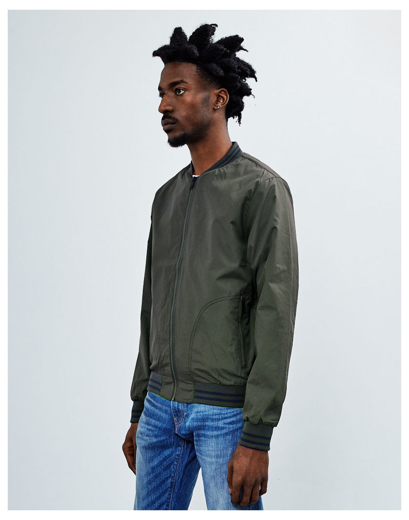 The Idle Man Baseball Style Poly Bomber Jacket Green