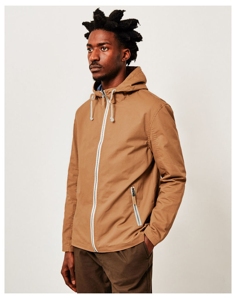 The Idle Man Cotton Lightweight Hooded Jacket Stone