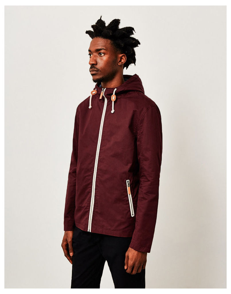 The Idle Man Cotton Lightweight Hooded Jacket Burgundy