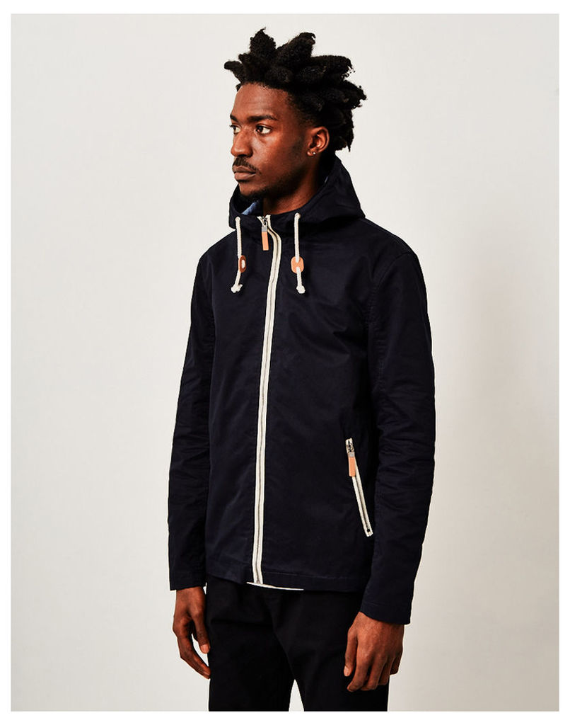 The Idle Man Cotton Lightweight Hooded Jacket Navy