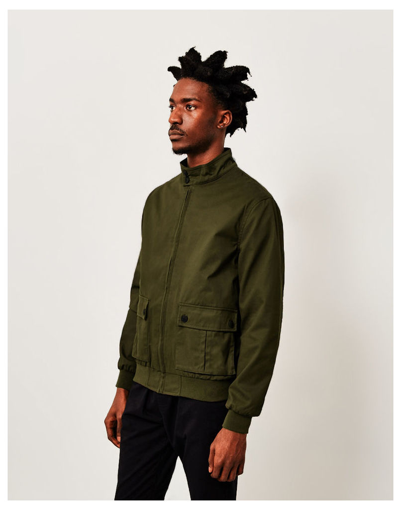 The Idle Man Collared Bomber Jacket Green