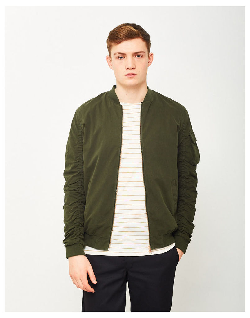 The Idle Man Rouched Sleeve Bomber Jacket Green