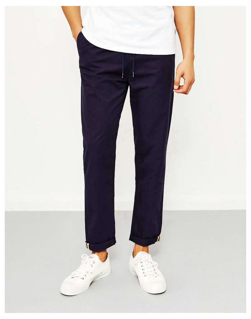 The Idle Man Relaxed Cotton Trouser Navy