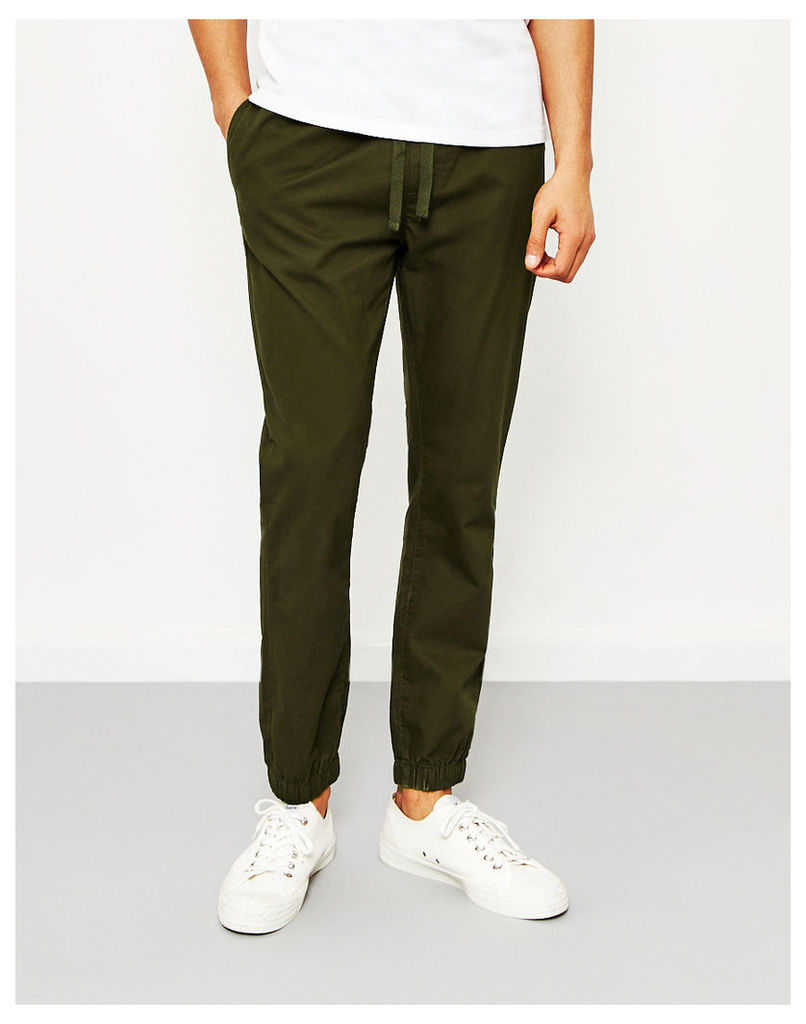 The Idle Man Cotton Elasticated Cuff Trouser Green