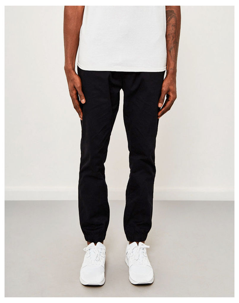 The Idle Man Cotton Elasticated Cuff Trouser Black