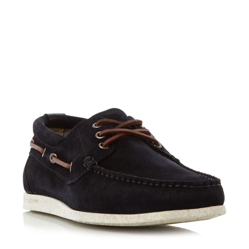 Hugo Boss Nydec moccasin suede boat shoes, Navy