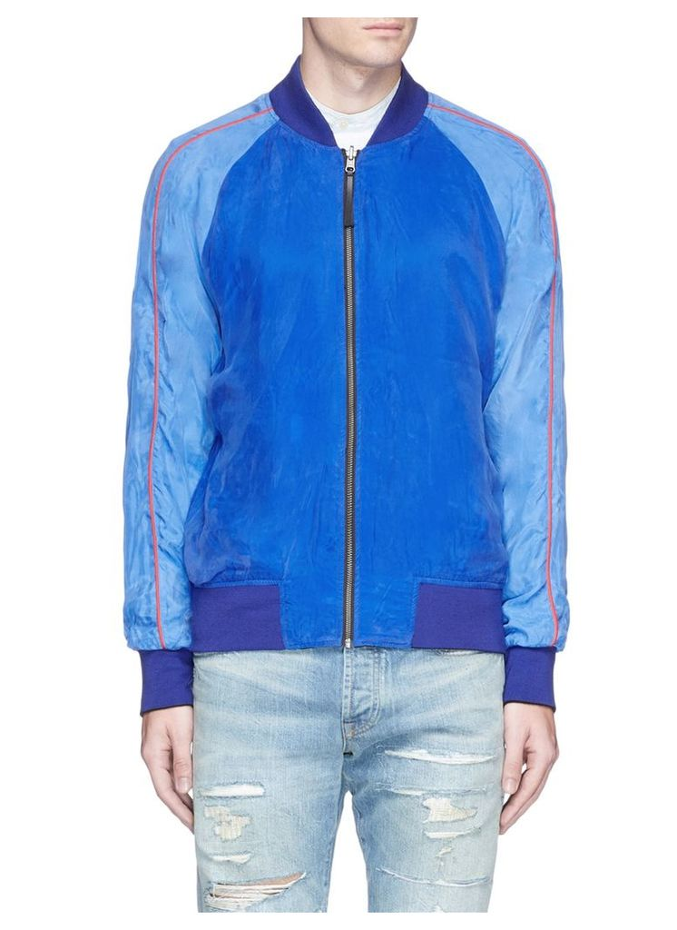 Fan embroidered reversible cupro souvenir jacket