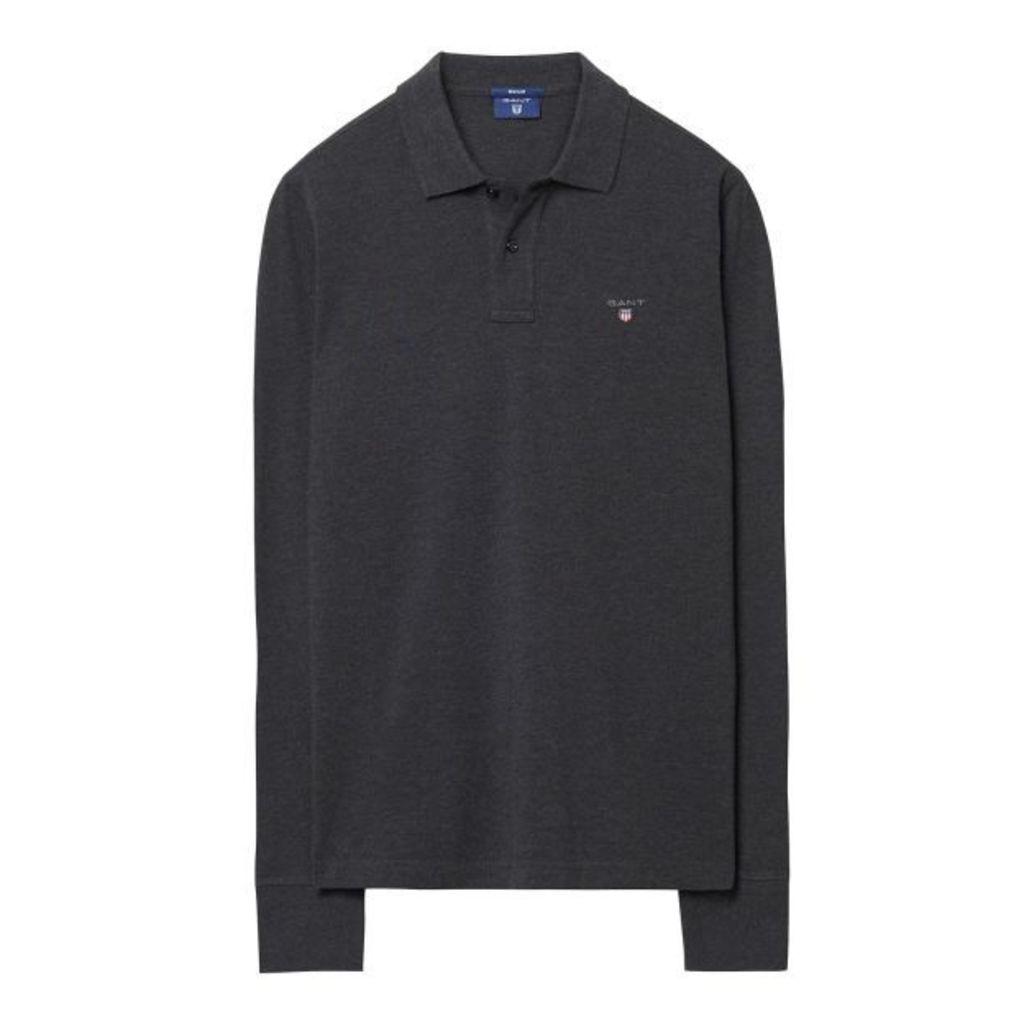 Long-sleeved Polo Shirt - Dark Antracit Melange