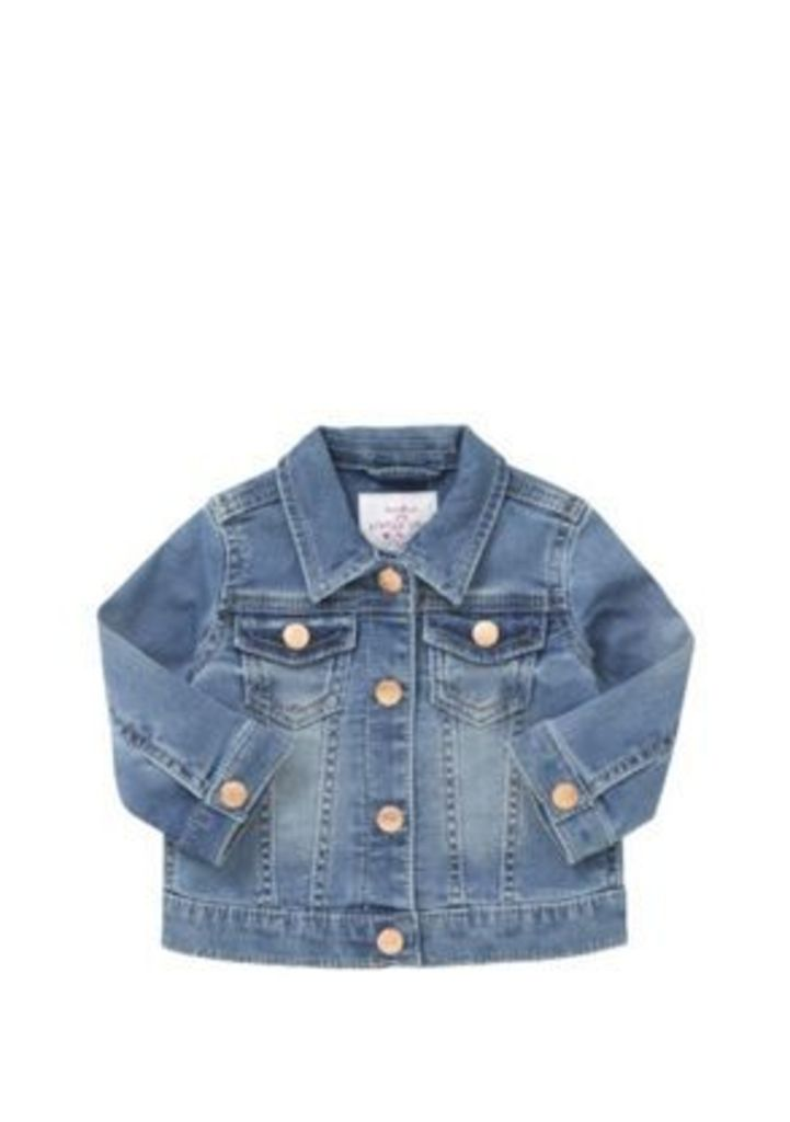 F&F Loopback Stretch Denim Jacket, Infant Girl's, Size: 09-12 months
