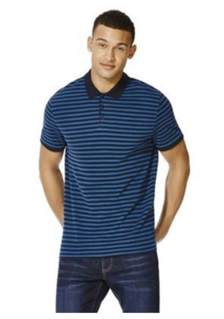 F&F Striped Textured Polo Shirt, Men's, Size: Large