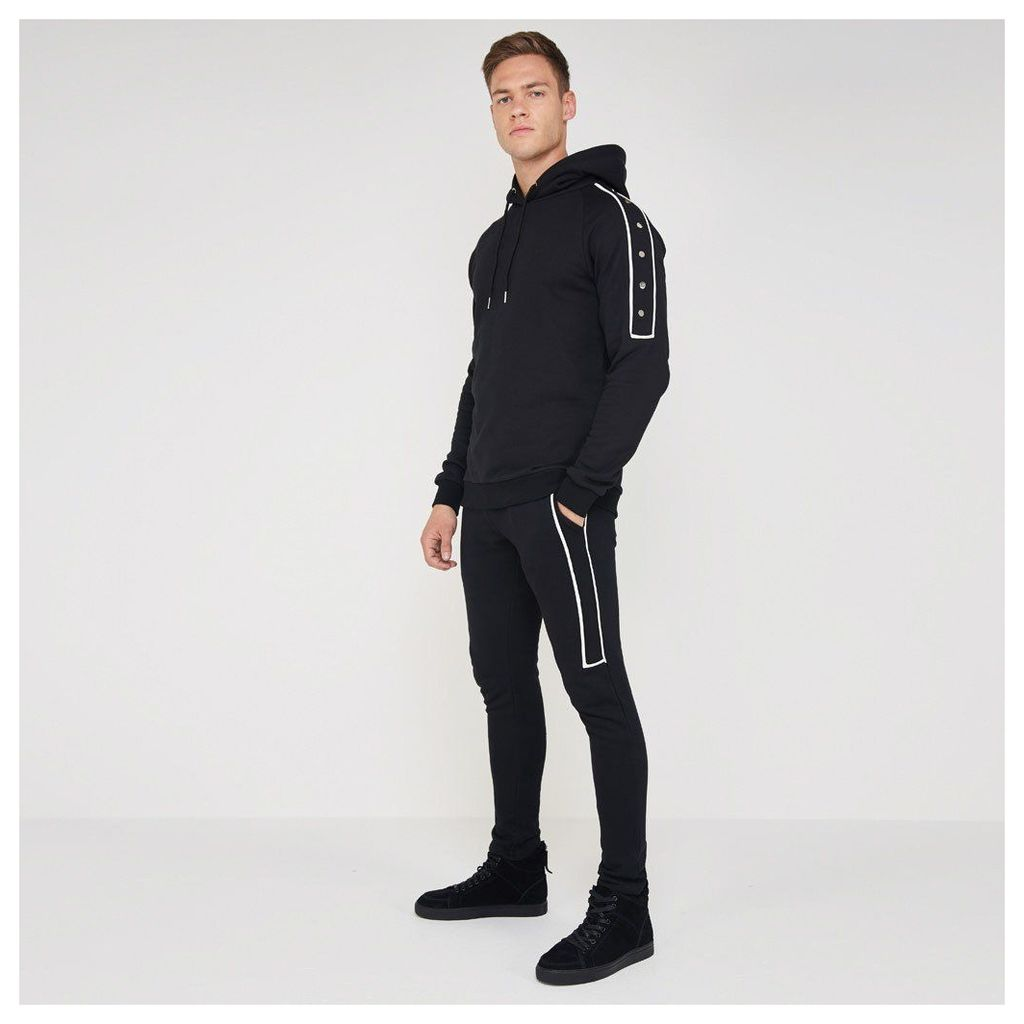 Jogger with Leather Piping - Black