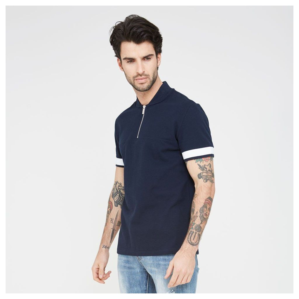 Panelled Polo Shirt - Navy