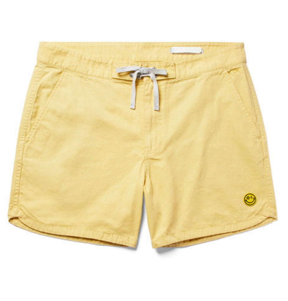 Happy Source Mid-length Organic Cotton And Hemp-blend Swim Shorts