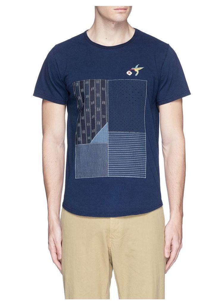 Mixed patchwork hummingbird embroidered T-shirt