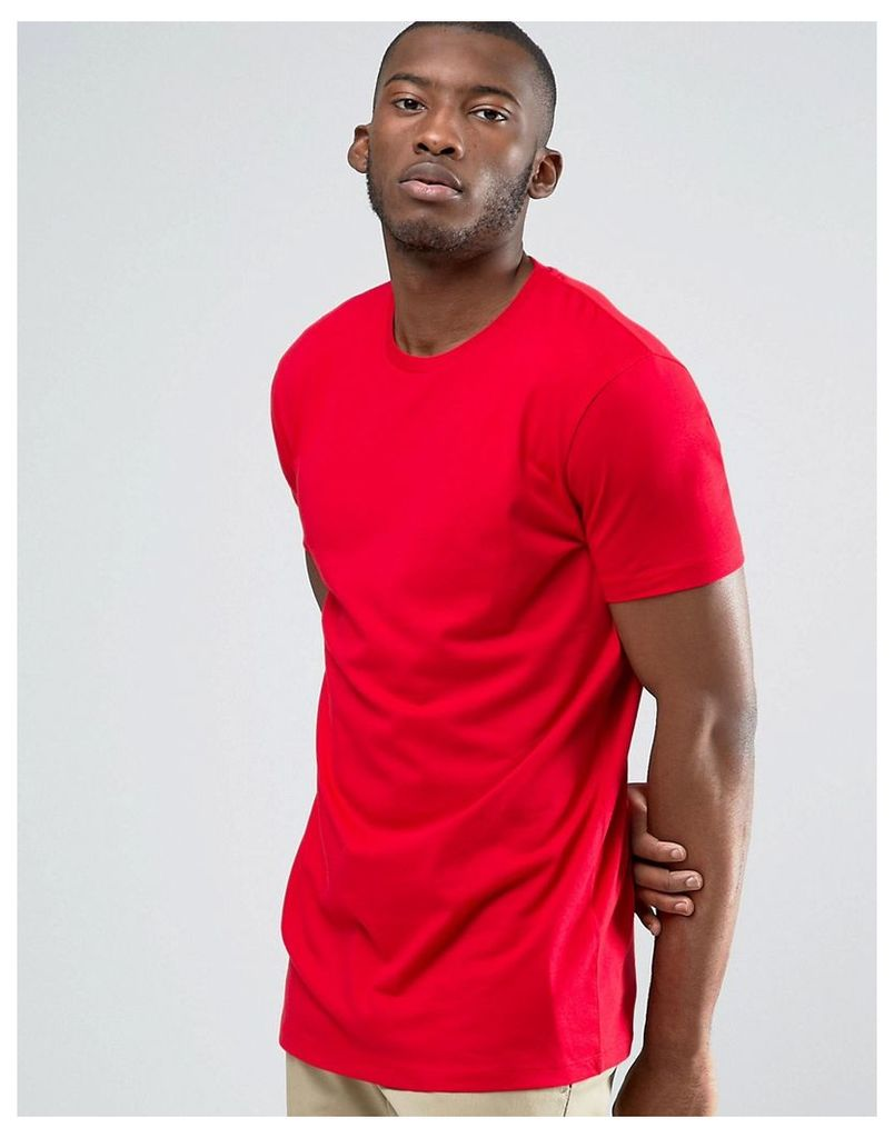 ASOS Longline T-Shirt With Crew Neck In Red - Rooney